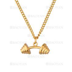collar fina con dije de mancuerna especial acero dorado inoxidable- SSNEG1133390