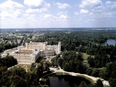 Aerial side view of the Gatchina Palace.