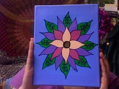 Acrylic on canvas, 2011.  A simple henna flower for my grandmother's birthday #painting #art #artwork