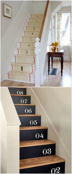 DIY pintar escaleras. Visto en www.ecodecomobiliario.com
