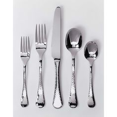 Add a sense of elegance to mealtimes with this 42-piece stainless-steel flatware set. All the utensils share a beautiful hammered finish design that adds texture to each piece, creating a traditional look that looks great with even your finest china.
