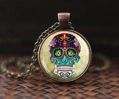Steampunk Sugar Skull glass dome Pendant Mexican Sugar Skull