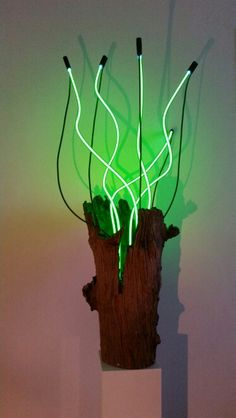 Organic light , wood and neon. Artist: Jeroen Gordijn