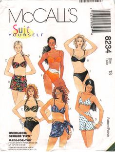 Size 18 Bust 40; McCall's 8234 Suit Yourself Overlock/Serger Made For You A B C D Cup Sizes; Misses Swimsuit and Sarong; Sewing Pattern by AffordablePatterns