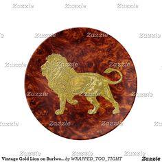 Vintage Gold Lion on Burlwood Pattern Plate