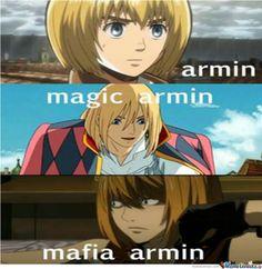 Attack On Titan Armin | Armin(Attack On Titan) Magic Armin(Howl's moving castle) Mafia Armin(Death ...