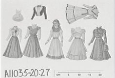 A11035 Paper dolls, 25, four cut-out figures with wooden bases and 5 costumes, in later pictorial box, [c. 1860], a figure of a girl with six costumes, [c. 1890], figures of a woman and a baby, both dressed in tissue paper, and sheets with cut-out articul - Powerhouse Museum Collection