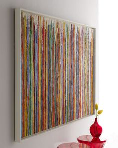 """Hand-embellished abstract giclee on canvas is signed and numbered by the artist, Robinson, as part of a limited collection of 300 pieces. Certificate of authenticity available upon request. 62""""W x 2""""D"""