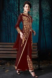 Pure faux georgette pant style dress heavy zari embroidery work in maroon color. Maroon pant style salwar suit is pure faux georgette fabric top and pure santoon fabric bottom with pure chiffon fabric dupatta. Silk Anarkali Suits, Anarkali Dress, Salwar Suits, Indian Clothes Online, Online Shopping Clothes, Indian Evening Gown, Fashion Pants, Fashion Dresses, Maroon Pants