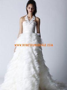Melestsa Sweet belle robe de mariée longue évasé ornée de gradin organza