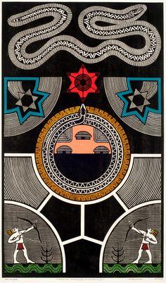 Gilvan José de Meira Lins Samico | Via Láctea-Constelação da serpente II, 2005 | Xilogravura ed 07/120 | 92,7 x 47,5 cm | Foto: João Liberato.