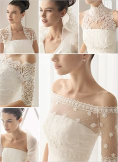 Bridal Jackets, Capes, and Boleros – They add visual interest and a little touch of coverage to any strapless wedding dress. Aire Barcelona and Rosa Clara have an amazing selection of lace and sheer bridal jackets. Love the lace sleeves-kc Delicate Wedding Dress, Bridal Lace, Bridal Style, Bridal Gowns, Wedding Gowns, Modest Wedding, Wedding Gown Cover Up, Lace Wedding Dress Topper, Wedding Bride