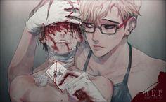 Bloody dark anime boys Guro
