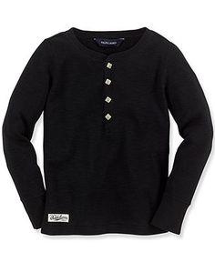 Ralph Lauren Kids Shirt, Little Girls Long-Sleeve Waffle Henley - Kids Toddler Girls (2T-5T) - Macy's