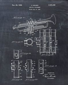 This is a print of the patent drawing for a trumpet patent in 1939. The original patent has been cleaned up and enhanced to create an…