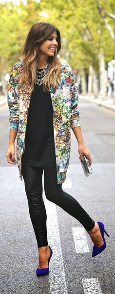 Pinterest: LoLoBu Official. long floral jacket + black top + black skinny jeans + blue pumps