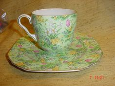 Vintage Collectable Lord Nelson Ware Chintz Green Tulip Porcelain Cup & Plate | eBay