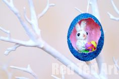 Adorable!! Easter Glitter Egg Diorama made with kids.