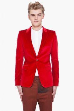 Mens Fancy Red Velvet Jacket Sports Casual Coat Wedding Blazer Full Tuxedo #Unbranded #OneButton