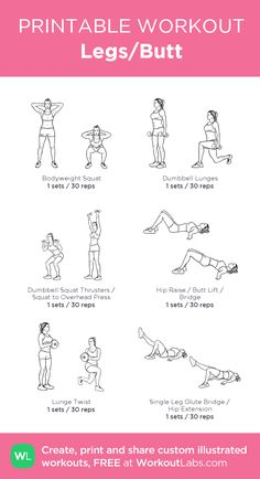 Legs Butt my visual workout created at WorkoutLab Leg And Glute Workout, Bum Workout, Leg Day Workouts, Dumbbell Workout, At Home Workouts, Workout Plans, Leg Workout For Beginners, Leg And Back Workout, Workout Exercises