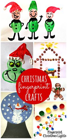 Christmas & Winter Fingerprint Craft Ideas For Kids - (Find the Grinch, snowmen, christmas lights, elves, and more art projects!) | CraftyMorning.com
