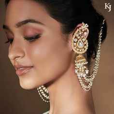 Paisley-inspired regal and mesmerising diamond polki jhumki earrings with ear-cuffs jewelry by- Ear Cuff Jewelry, Indian Jewelry Earrings, Jhumki Earrings, Jewelry Design Earrings, Cuff Earrings, Bridal Jewelry, Earring Studs, Mughal Jewelry, Heavy Earrings