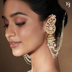 Paisley-inspired regal and mesmerising diamond polki jhumki earrings with ear-cuffs jewelry by- Ear Cuff Jewelry, Indian Jewelry Earrings, Jhumki Earrings, Jewelry Design Earrings, Cuff Earrings, Bridal Jewelry, Earring Studs, Nose Piercing Jewelry, Heavy Earrings