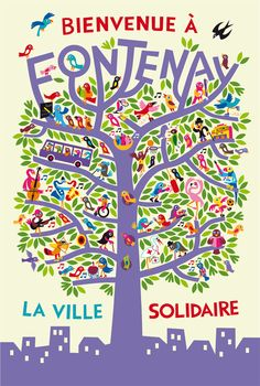 illustration Tree Illustration, Pattern Illustration, School Cartoon, Poster Ads, Typography, Lettering, Word Pictures, Vintage Posters, Fontenay