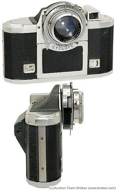 Alsaphot: Cyclope 3.5 camera, 1950-1952. 120 film, 6x6 exposures, viewfinder camera. Interestingly styled. f/3.5, Prontor-SV shutter.