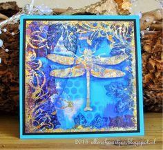 Ellen's kaartjes: Golden Dragonfly. Stamped with gilding flakes.