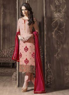Pink Georgette Astounding Salwar Kameez