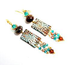 Long Tribal Glass Bead Earrings. Fall Colors. by @wildwomanbeads #jewelryonetsy #shoppershour #etsyspecialt