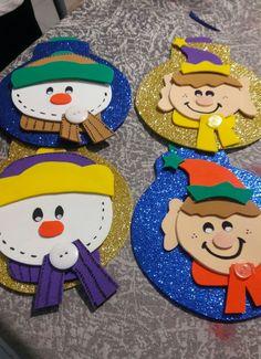 Esferas navideñas foamy.  Duende, muñeco de nieve. GH