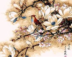 Chinese Monochromes Bird Flowers Needlepoint Canvas #GoldenAppleArt