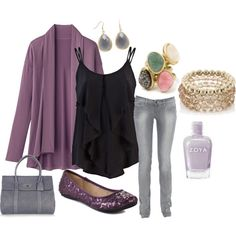 Purple and Gray, created by juarezcourtney on Polyvore