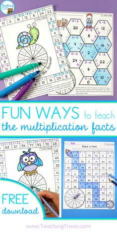 Teaching multiplication to your grade students should be fun. Use anchor charts and flip books to introduce each multiplication strategy and then hands-on games, activities and printables to help them remember their times tables. Maths 3e, Multiplication Activities, Math Activities, Numeracy, Math Fractions, Multiplication Chart Printable, 4th Grade Multiplication, Math Multiplication Worksheets, 3rd Grade Math Worksheets
