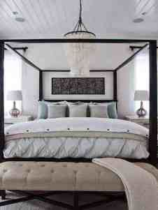 Coastal Luxe interior design by Lindye Galloway Design. Master bedroom design with canopy bed and capiz shell chandelier. Chic Beach House, Beach House Decor, Beach Houses, Coastal Bedrooms, Coastal Homes, Master Bedrooms, Master Suite, Beach Bedrooms, Master Bathroom