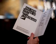 Typeface and menus created by Designers Anonymous for Fuller's fair-trade coffee range Brewer St.