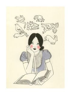 Beautiful illustrator on Etsy- Matou en Peluche. I LOVE her Art Deco girls and this one is so charming!
