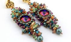Mardi Gras Earrings by Mary Lindell with Swarovski Tahitian pearls and amethyst, indicolite, crystal copper, and peridot bicones.
