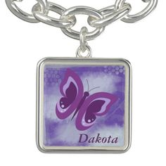 Lavender Butterfly Grunge Personalized Charm Bracelets by Westerngirl2 #bracelet #charm #butterfly