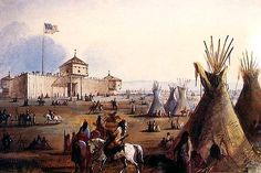 """""""Ft. Laramie"""" by Alfred Jacob Miller (1837)"""