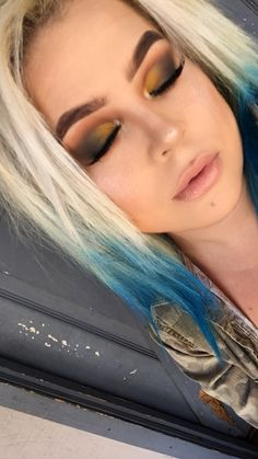 Anastasia Beverly Hills Subculture Palette • Yellow • Green • Brown • Autumn • Smokey Eye • Flawless Foundation • Eyebrows • Eyelashes • Blonde • Blue • Hair •