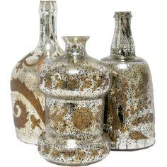 Mercury Glass Bottles.