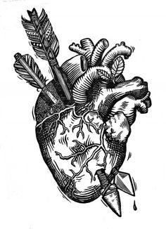 Kärlet, Original Anatomical Heart Linocut