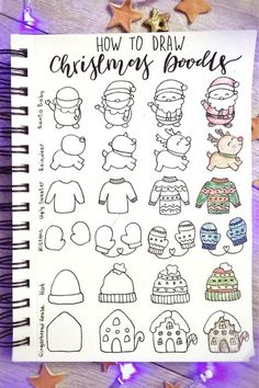 The ultimate collection of CHRISTMAS doodles for your bullet journal Bullet Journal Christmas, December Bullet Journal, Bullet Journal Notebook, Bullet Journal Ideas Pages, Bullet Journal Inspiration, Christmas Doodles, Christmas Drawing, Easy Doodle Art, Doodle Pages