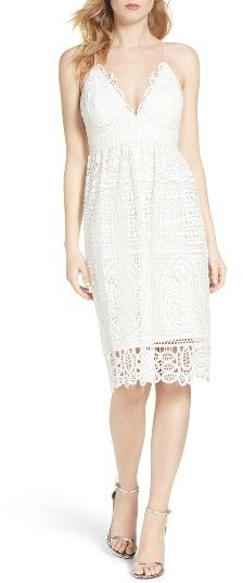 WOMEN'S BARDOT VERSAILLES SLIPDRESS at Nordstrom. A plunging neckline and mixed-pattern lace make this airy sundress as romantic as possible.