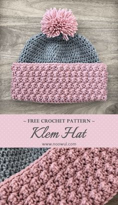 When cold weather starts to set in, you may want something with added thickness to keep your ears warm. The Klem Hat will do just that! Not only will your ears be toasty warm, but you'll look stylish in this fun, bubbly textured brimmed hat. Crochet Adult Hat, Easy Crochet Hat, Crochet Beanie Pattern, Crochet Cap, Crochet Scarves, Crochet Crafts, Crochet Clothes, Free Crochet, Crochet Patterns