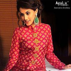 Elegant and graceful Taapsee Pannu of Pink fame wearing gorgeous hand-carved Malachite earrings from Apala by Sumit.   #CelebrityStyle #BollywoodForApala #jewellery #bollywood