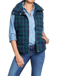 10 Plaid Pieces To Buy Now - We love a good puffer vest, so this Old Navy Plaid Frost Free Vest ($25) will be coming home with us!